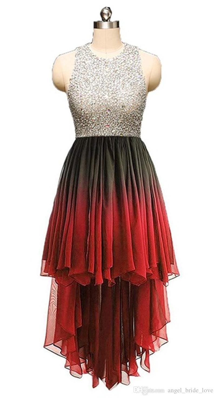 2019 Новый Crystal Backbloble Hi-Lo A-Line Платья выпускного вечера Бисероплетение Плюс Размер Домашняя Коктейль Партия Специальное время Платье Vestido Fiesta BH30