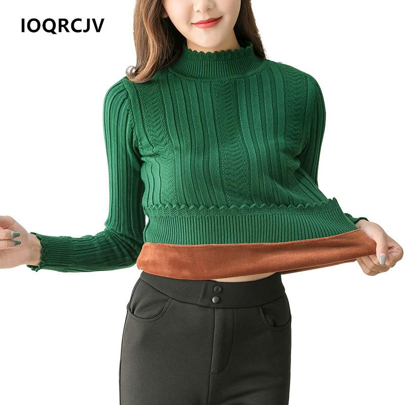 Spring Autumn Pullovers Sueter Mujer Ruffled Sleeve Turtleneck Sweaters Sexy Elastic Thicken Warm Pull Female Jumper IOQRCJV F63