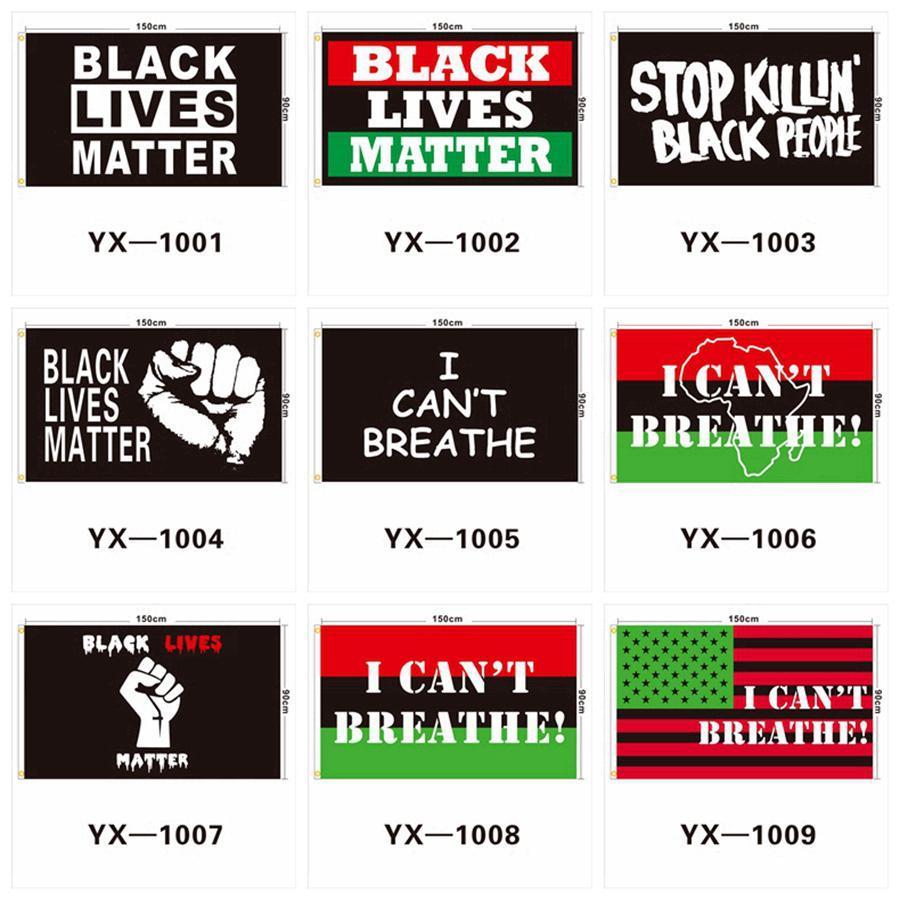 90x150cm SİYAH Bayrak Amerikan Parade bayraklarını 9styles RRA3125 Breathe değil KONUDA Afişler Siyah Protesto Banner I Can LIVES