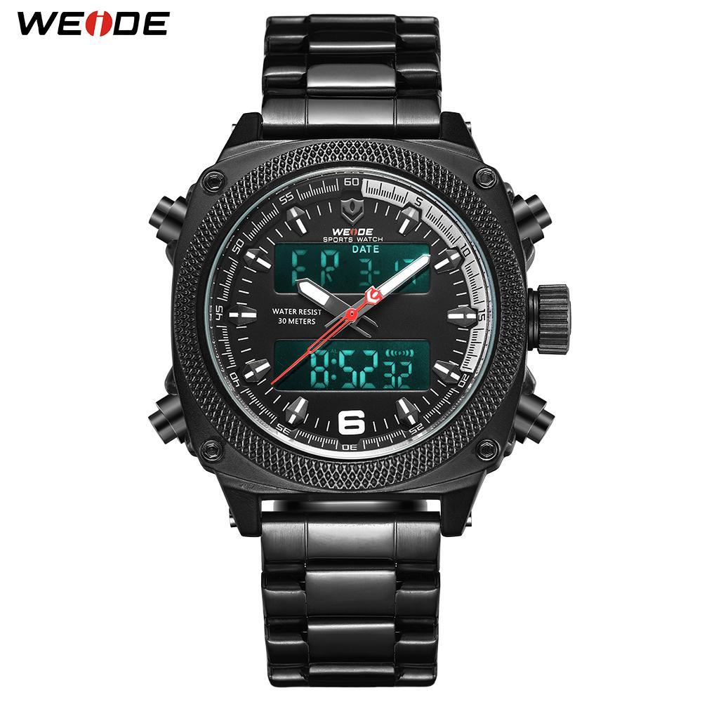Aço inoxidável WEIDE Mens Sports Auto Data Semana Display Digital Quartz Banda Correia de pulso Black Clock Relógio Masculino horas