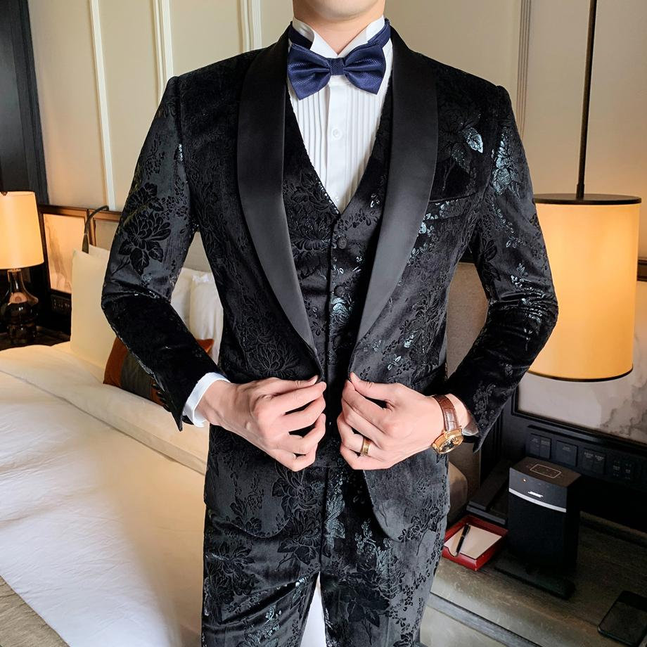Black Navy Blue Velvet Suit Men Luxury Slim Fit Mens Velour Suits Elegant Grooms Wedding Tuxedos Prom Dinner Party Dress Q659