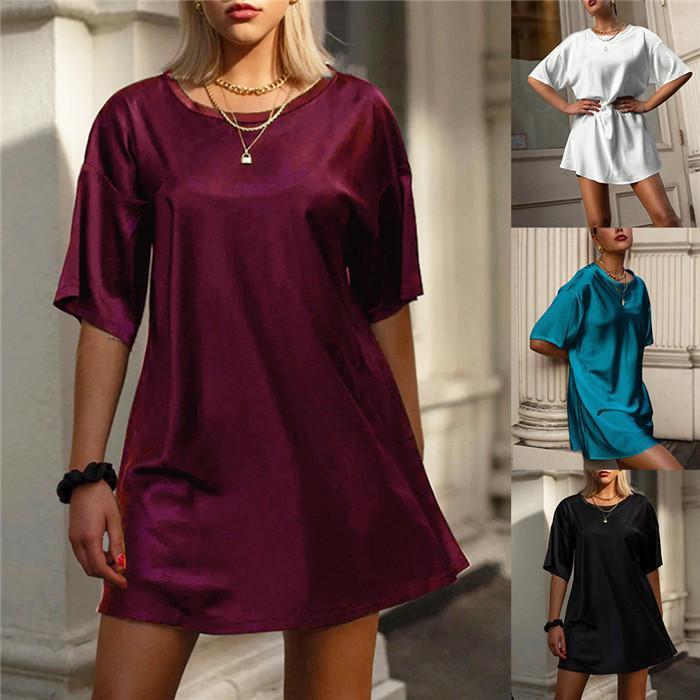 Frauen-beiläufige T Shirts Kleider Satin O Ansatz Gerade Frauen-Sommer-Kleider Mode skateborad kurze Hülsen-Minikleid für Damen