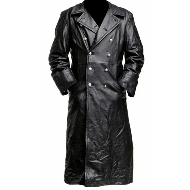 La ropa de cuero del nuevo estilo medieval de la vendimia de los hombres puro largo foso de cuero chaqueta de la capa masculina Ropa de Calle rompevientos 12.25