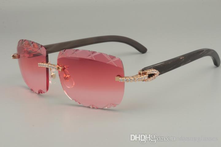 2019 nouveau best-seller naturel noir motif corne lunettes de soleil, unique conception diamant lunettes de soleil 8300756-B gravure Lentille taille: 56-18-140mm