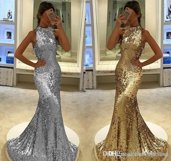 2019 Arabic Dubai Mermaid Evening Dress Silver Gold Sequins Celebrity Formal Holiday Wear Prom Party Gown Custom Made Plus Size
