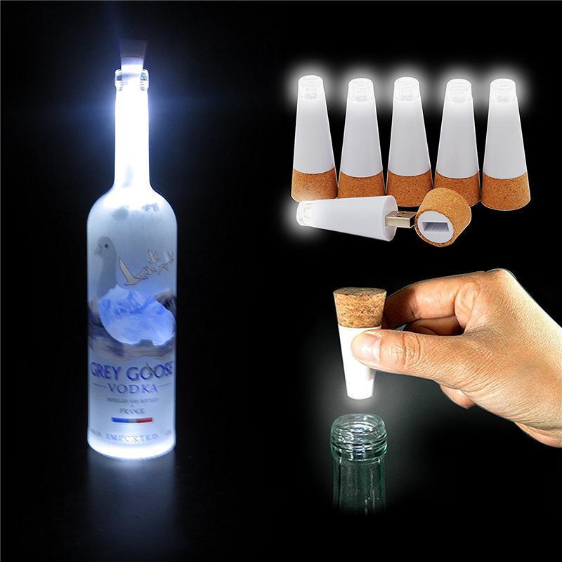 الصمام لمبة ضوء زجاجة كورك قابلة للشحن USB زجاجة لمبة مصباح فلاش لينة كورك التوصيل زجاجة النبيذ رومانسية Decorarion ليلة الخفيفة