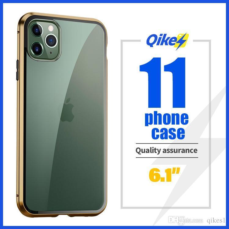 Para iPhone 11 de dupla face magneto Rei caso do telefone móvel caixa de vidro absorção capa protetora magnética capa protetora