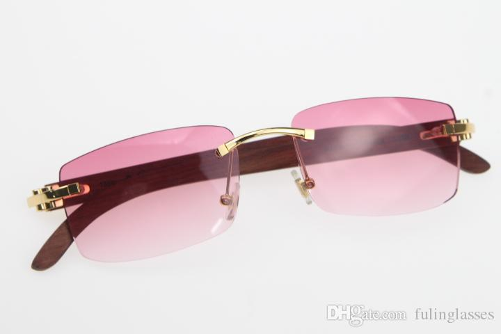 Free Shipping Rimless New Wood SunGlasses Hot 3524012 Glasses Hot Unisex designer Wooden Sun glasses with box Pink Lens