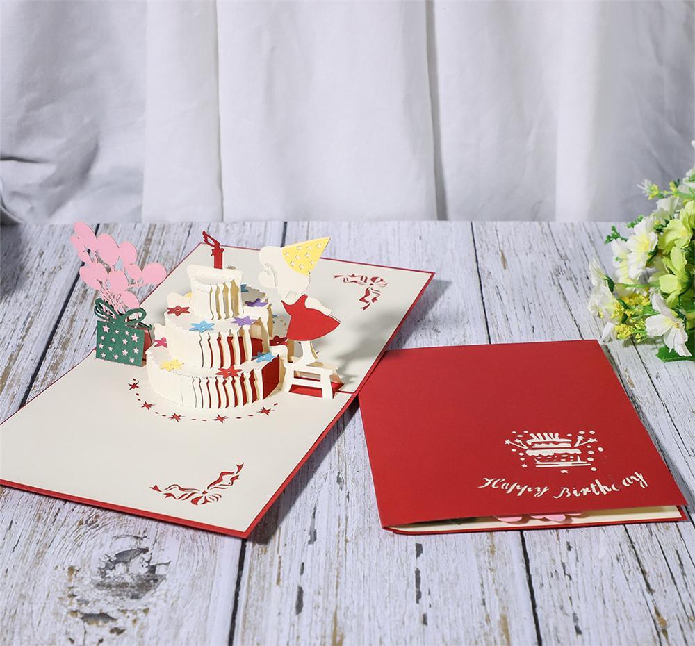 Birthday cake lovely girl creative 3D greeting card gorgeous handmade 3D greeting card wholesale customization HK005
