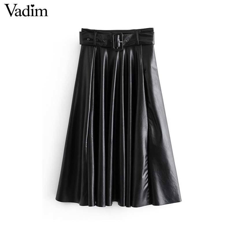 Mulheres Vadim chic PU couros saia-proa de meia-Leca solida cinto Fecho lateral uma linha saias-de-moda femininas casuais mujer BA774 MX200327