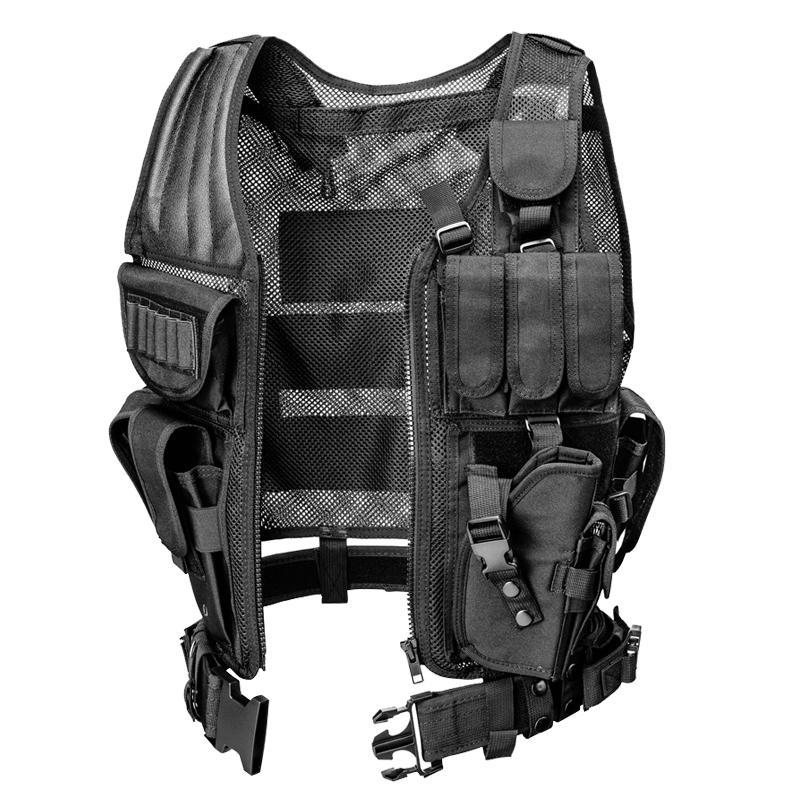 Camo Tactical Vest Men Hunting Molle militar Tactical Vest Polícia Airsoft Paintball assalto Tiro Caça Roupa Holster