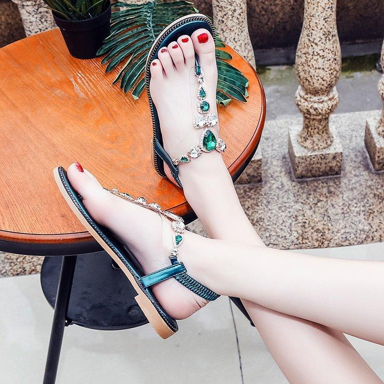 sandaletler Terlikler Düz Sandalet Yaz Kadın Rhinestone Düşük Topuklar Kristal Zincirler Thong Gladyatör slip Womens