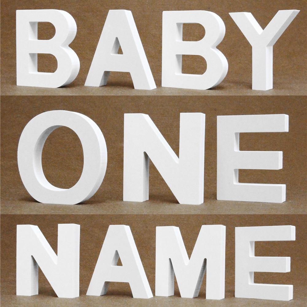 Bricolaje, independiente de espesor 15MM de madera letras de madera blanca fiesta de cumpleaños de la boda del alfabeto Inicio Decoración Diseño Nombre personalizado