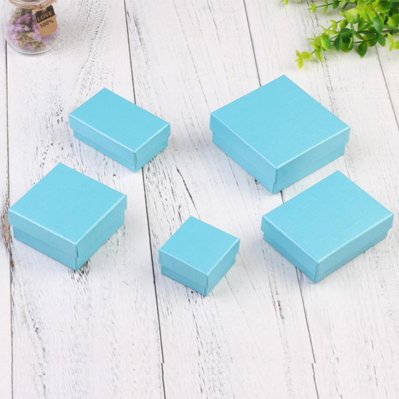24pcs Square Paper Blue Jewellery Box for Bracelet Necklace Ring Earrings Gift Boxes Cheap Jewelry Display Present Packaging