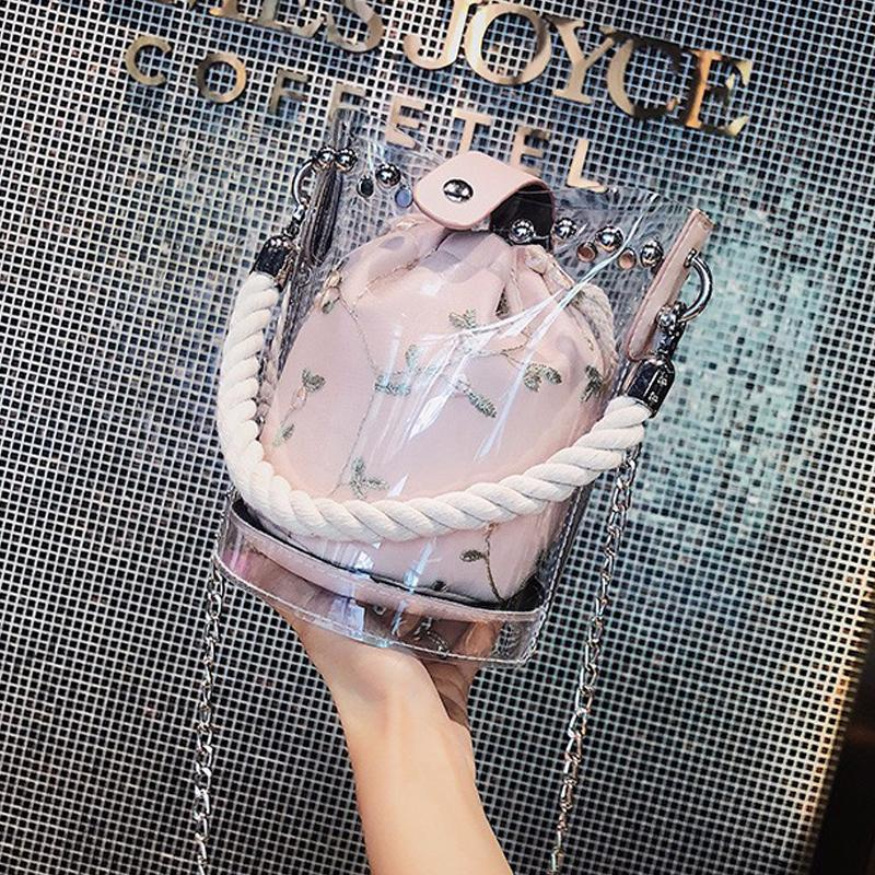 Designer Sacs Seau Sac de plage Femmes Ceinture Sacs Personnalité mode fil de corde tissage couture Création dames Sac à main en PVC transparent Rivet bourse