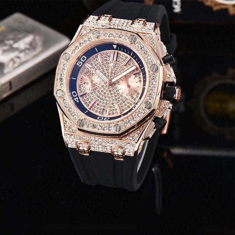 Новые Top Luxury Мужские часы черный каучуковый ремешок Алмазный Корпус высокого качества Все циферблатом работы хронограф кварцевый механизм Спорт Мужские Часы