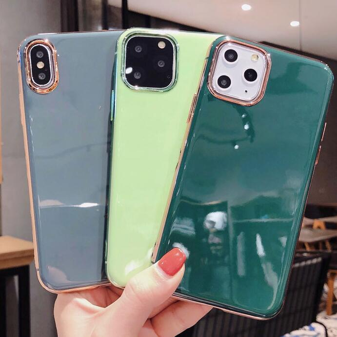 100pcs Hot Fashion Luxury Phone Case Simple Plating Soft Shell For Iphone 6s 7 8 Xr Xs 11 Pro Max Plus Protective Case