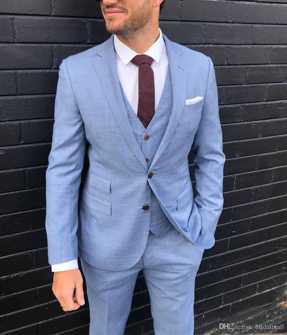 Nuove 2019 Sky Uomo Completo blu 3 Pezzi partito convenzionale Affari Coat Abiti Notch risvolto commerciali Groomsmen smoking per il matrimonio (Blazer + vest + pants)