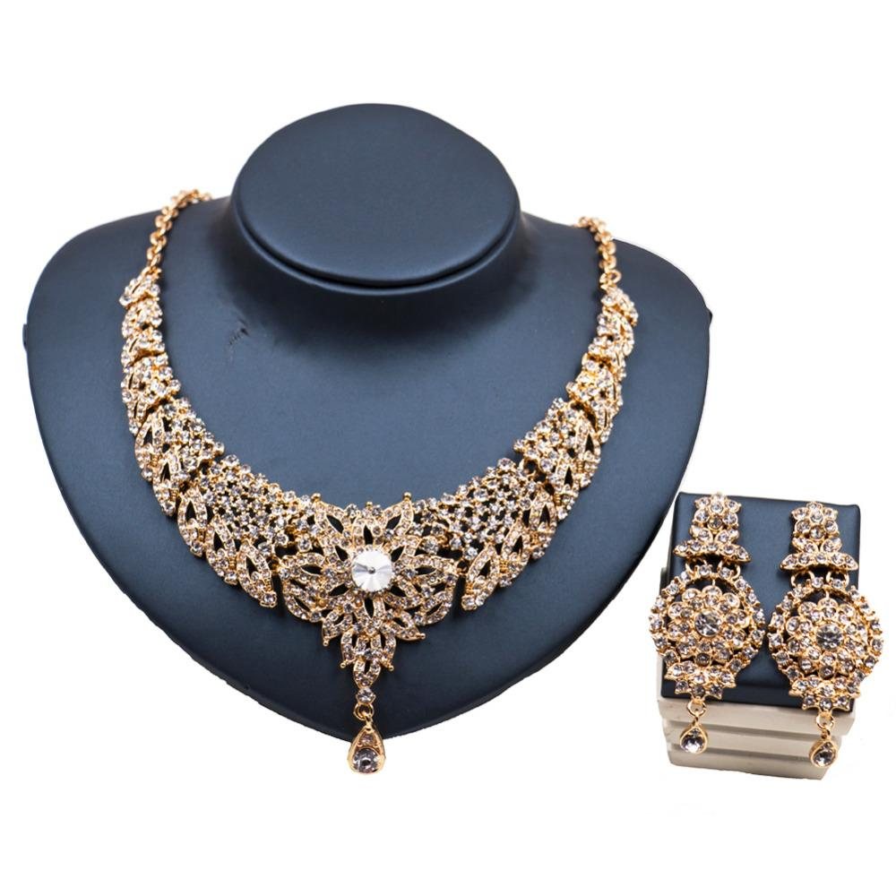 wholesale luxurious cubic zirconia gold jewelry set austrian crystal necklace and earrings wedding necklace free shipping