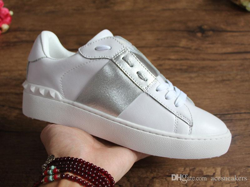 Offene Designer Schuhe Beste Qualität weiß Männer Neueste Paare Echtes Leder Designer Sneaker Luxus FASHION Streifen Freizeitschuhe für Frauen