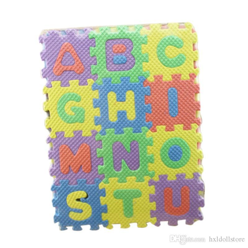 Toptan Satış - Çocuklar Halı Bebek Mat Oyna Yumuşak Zemin Tarama Mini Bulmaca Paspaslar Çocuklar için 36 adet / takım 17.8 * 13.5 * 1.7 cm Alfabe Rakamları