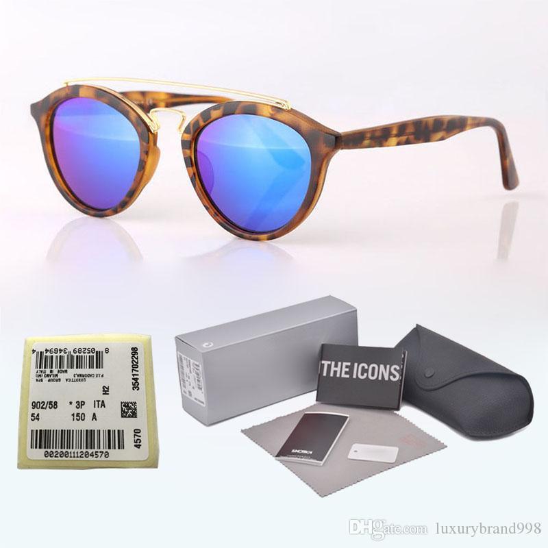 Vintage Classic Round Style Sunglasses Double Metal Beams Brand Designer Sun Glasses women men Glass lens Oculos De Sol with case and label