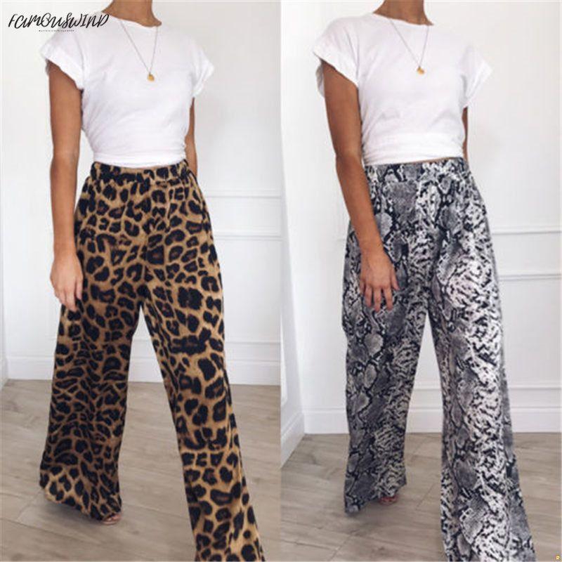 패션 새로운 캐주얼 높은 허리 표범 느슨한 여성 바지 컴포트 패턴 플레어 넓은 다리 긴 인쇄 동물 여자 바지