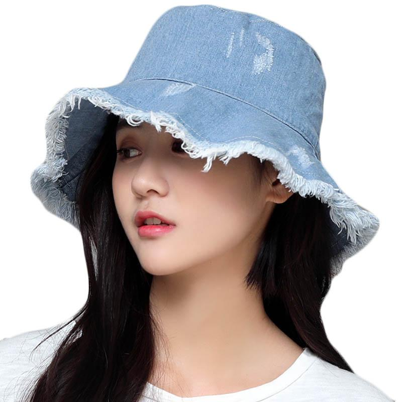 Female Sun Beach Hat Summer Fashion Tide Cowboy Hat Spring Women Fisherman Basin Hats Large Brim Foldable Sunshade Sun Cap