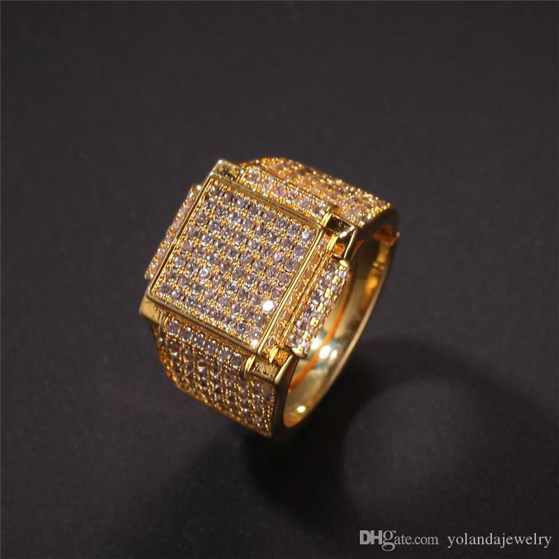 Hiphip giallo 18K oro bianco placcato gli anelli di diamante per Mens superiore Fashaion Hip Hop Accessori CZ Gems commercio all'ingrosso dell'anello
