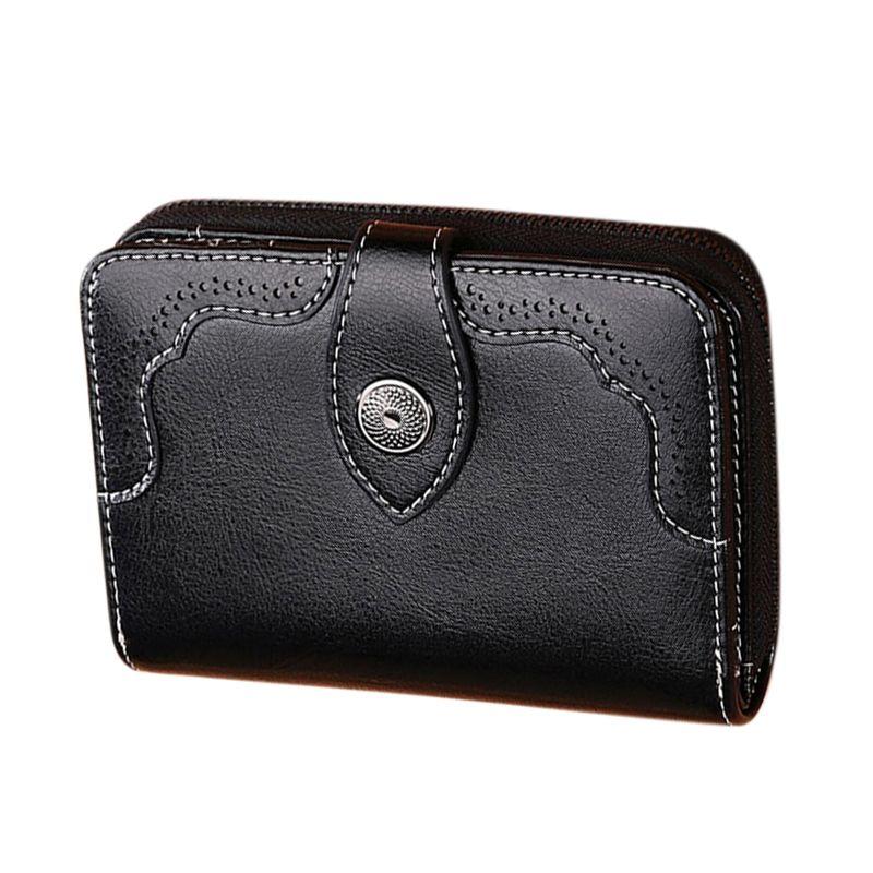 LJL-SENDEFN Boutique Fashion Leather Ladies Short Wallet Korean Version Two Fold Women's Zipper Retro Oil Wax Leather Wallet