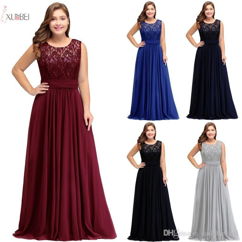 2019 플러스 사이즈 레이스 긴 댄스 이브닝 드레스 저렴한 실버 고삐 A 라인 파티 가운 공식적인 신부들이 드레스 재고 CPS526