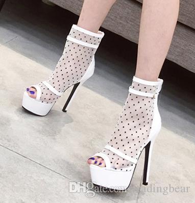 Moda beyaz puantiyeli meshy peep toe platformu ultra yüksek topuklu tasarımcı 34 ila 39 boyut pompaları