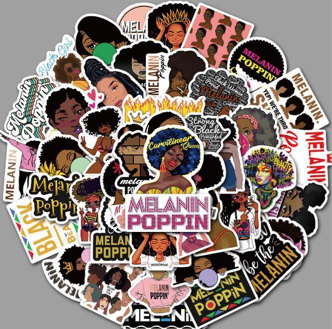 50 non ripetibile Inspirational Black Girl melanina Poppin Adesivi Notebook Deposito Scooter Trolley Laptop Case Skateboard autoadesivi