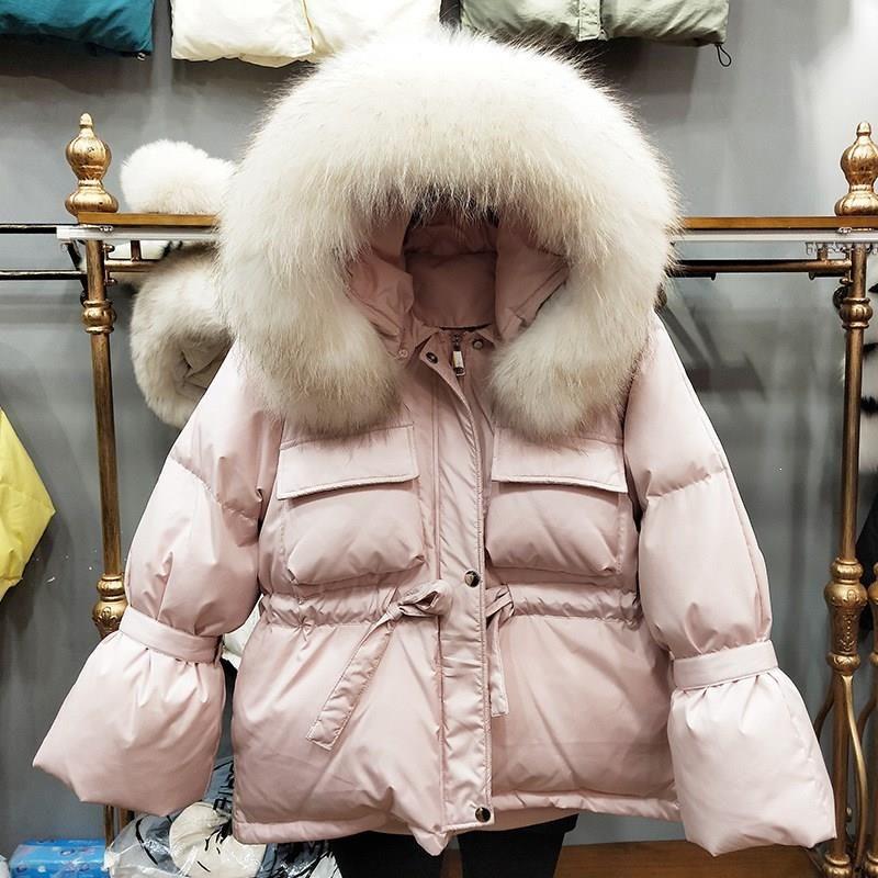 Aşağı Kısa Coats Ördek Toptan-Large Doğal Rakun Kürk Kapşonlu Kış Ceket Kadınlar Beyaz Katı Kalın Isınma Parkas Lace Up Kar Coat
