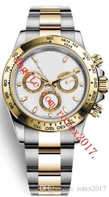 6 стиль Mens высокого качества Часы 40мм Азии Движение Cosmograph 116503 Нержавеющая сталь Желтый Золото Черный Нет Механические Автоматические Мужские часы