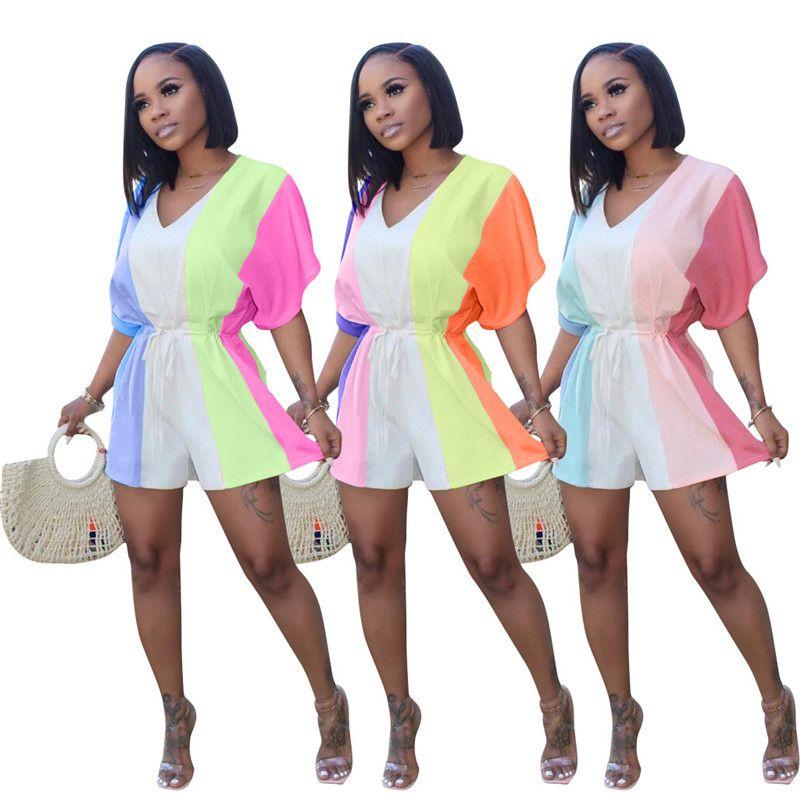 Womens Designer Contraste Couleur Mode Jumpsuits desserrées V Neck Casual lambrissés Couleur Jumpsuits Barboteuses Vêtements femme