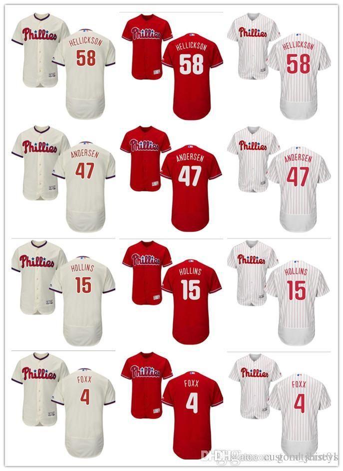 coutume femmes hommes jeunes Jersey # 4 Phillies de Philadelphie Jimmy Foxx 15 Dave Hollins 58 Jeremy Hellickson 47 Larry Andersen Baseball Jersey