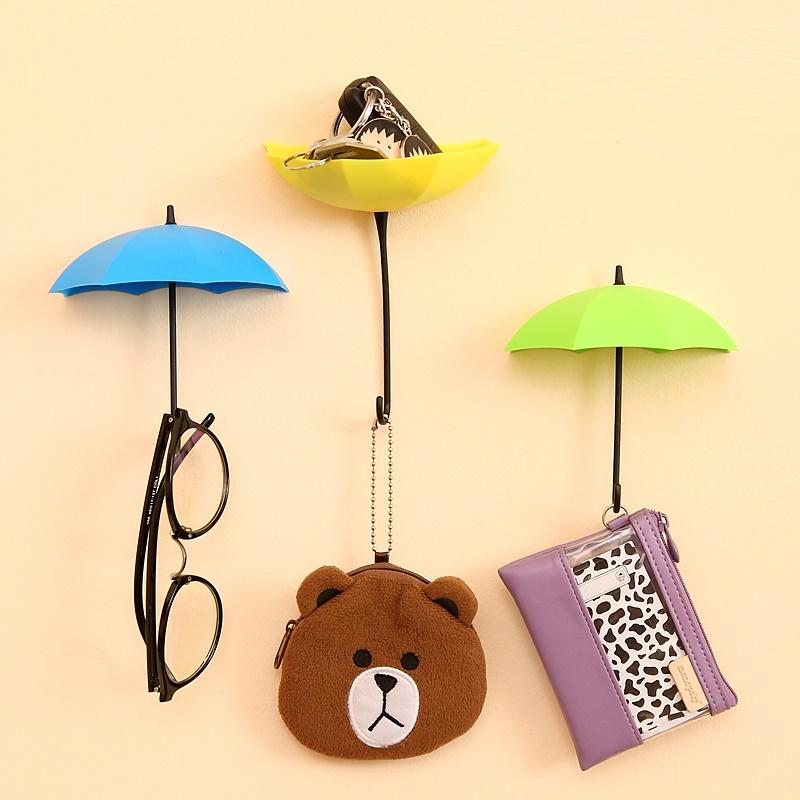3Pcs/set Umbrella Shaped Dual Use Key Hanger Rack Creative Kitchen Bathroom Wall Decorative Holder Accessories Tools