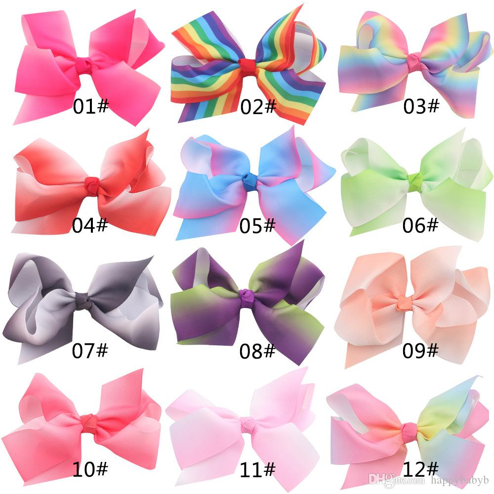 Mädchen-Regenbogen-Bogen-Klipp-Baby-Band-Haarnadel für Kinder Groß-Haar Boutique Bögen Kinder Haarschmuck