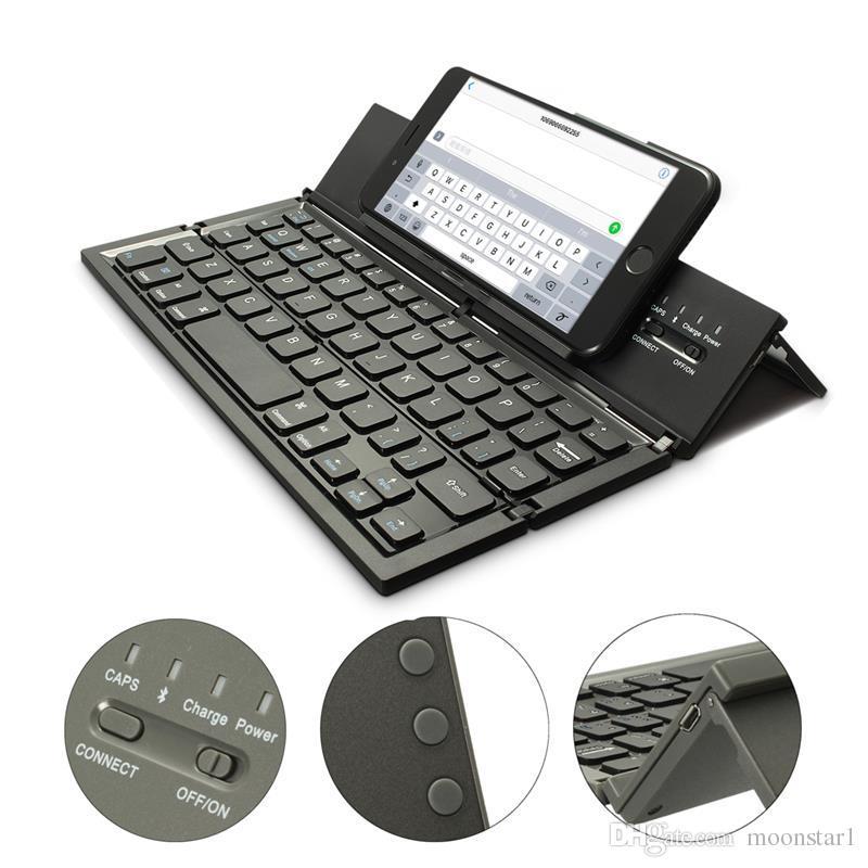 لوحة مفاتيح لاسلكية محمولة قابلة للطي لوحة مفاتيح Bluetooth لأجهزة الكمبيوتر المحمول الجدول QWERTY لوحة المفاتيح المصغرة حامل ل IOS لنظام التشغيل Windows Windows