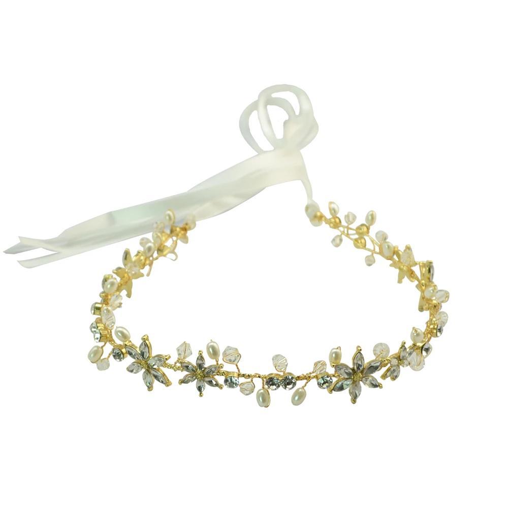 Magazzino degli Stati Uniti Charm con il Rhinestone di cristallo perla filo di rame Hairband sposa Cristallo parrucchino gli accessori capi Vine Jewelry