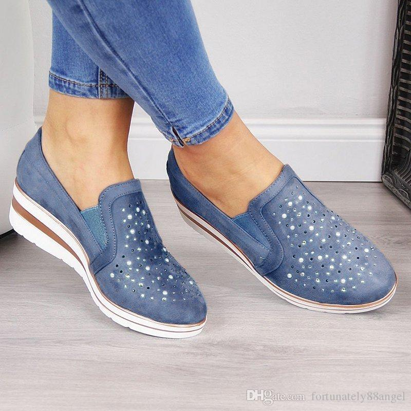 Women Wedge Canvas Shoes 2019 New Casual Ladies Single Shoes Plus Size Breathable Rhinestone Slip-on Women Sandals Pumps