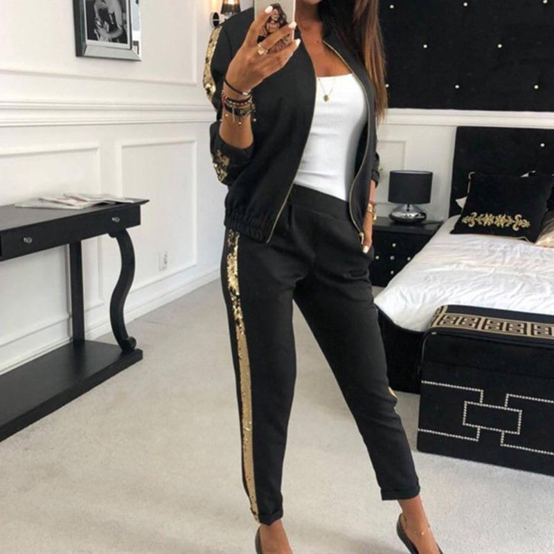 Women Gym Two Piece Set Suits Autumn Tracksuit New Fashion Casual Sequins Stitching Jacket Trousers Sportswear For Training