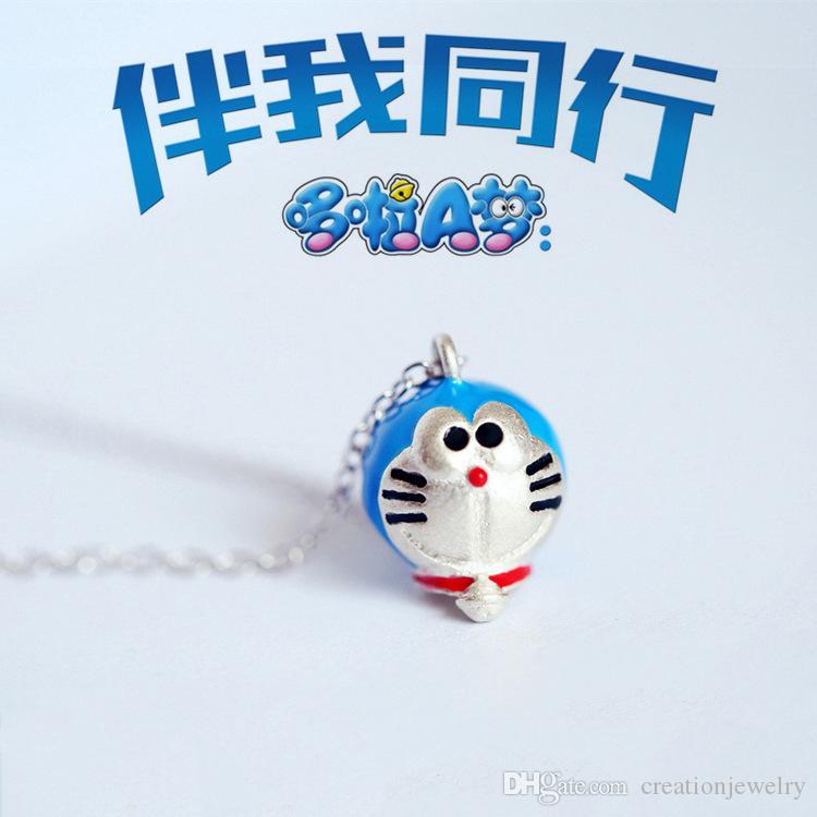 Cute Blue Copper Doraemon Мультфильм Blue Machine Cat Ожерелье Кулон Посеребренная Заявление Ожерелье Окрашенные Украшения для Женщин XL3P3