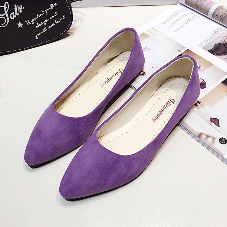 Mulheres casuais primavera sapatos e outono nova moda apontavam boca plana plana camurça multi-cor sapatos mulheres