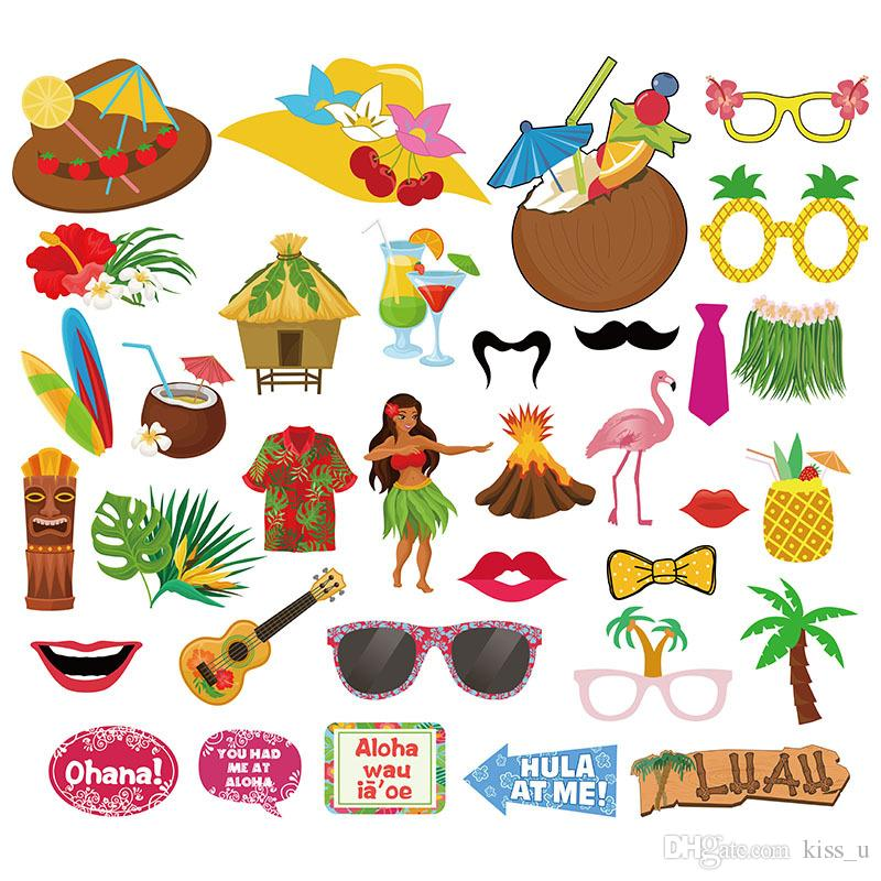 Hawaiian Party Photo Props Funny Party Seattle Dress Indigenous Hawaii Party Beach Bachelorette Decoration Photo Booth