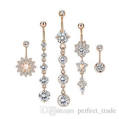 Mode féminine Navel Ring strass Tassel Navel Ring Hoop Flower Nombril Bouton anneau de cinq pièces Combinaison Offre spéciale
