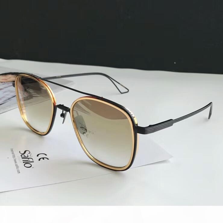 Um sistema de piloto Sunglasses Black Gold Brown Shaded Sonnenbrille designer de mulheres luxuosas dos homens óculos de sol Óculos de sol New com caixa