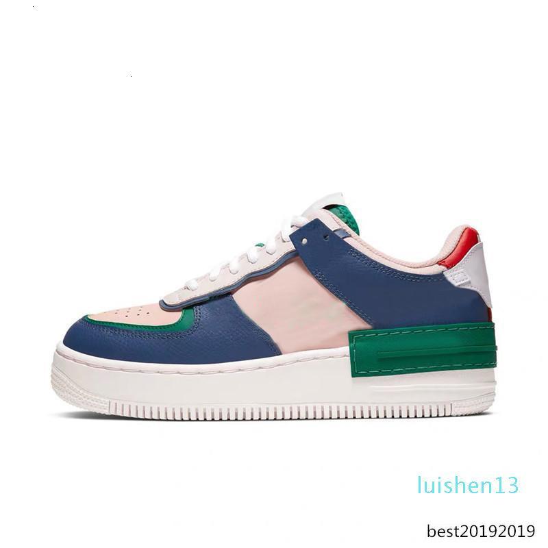 Nuove uscite progettista forzata 1 Ombra Tropical Twist pallido avorio ECHO ROSA pattini correnti delle donne piattaforma Nero Bianco Sneakers L13