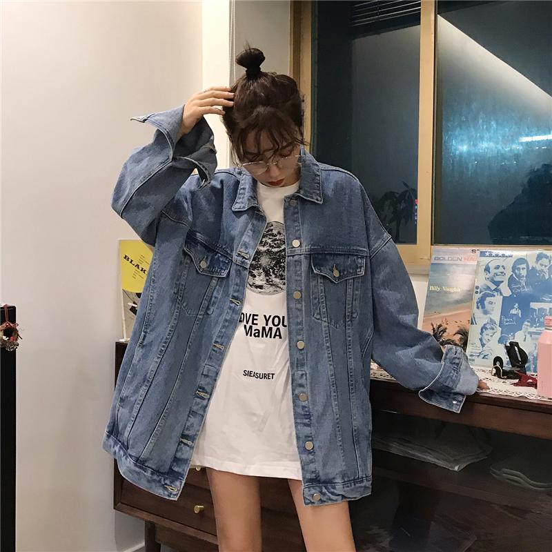 Изящный джинсовый пиджак парень подруга мода свободные девушки джинсовое пальто с карманами